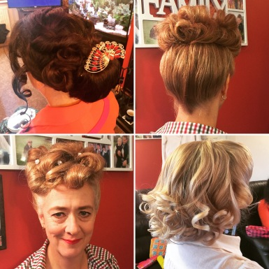 1930's to 1950's, poodles, curls and chignon bun